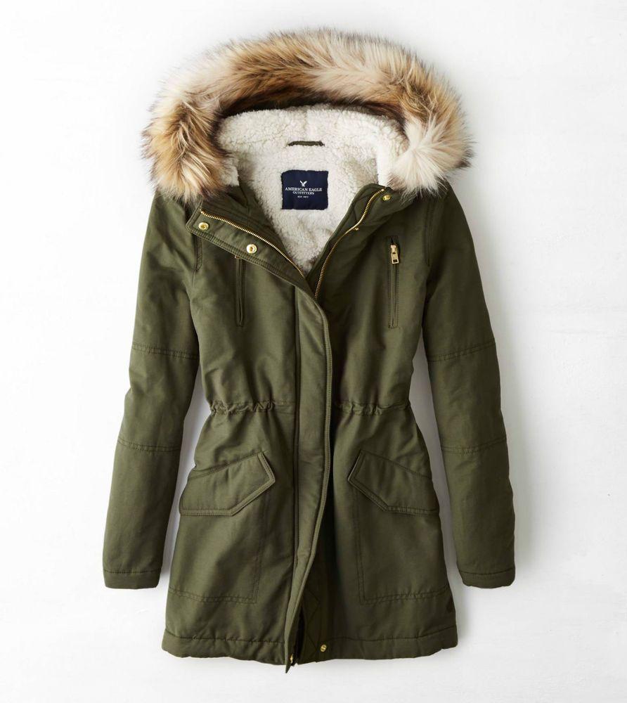 American Eagle Aeo Ae Hooded Parka Faux Fur Puffer Coat