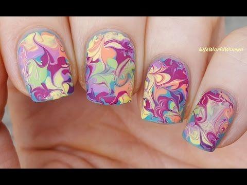 Matte Nails 1 Colorful Dry Marble Nail Art Using Needle Nails