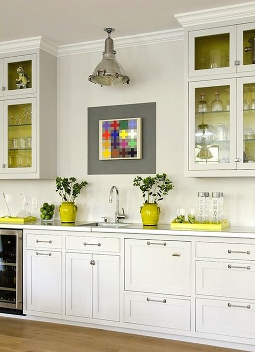 kitchens industrial pendant small square sink white kitchen cabinets yellow tray jars vases on kitchen ideas yellow and grey id=14256