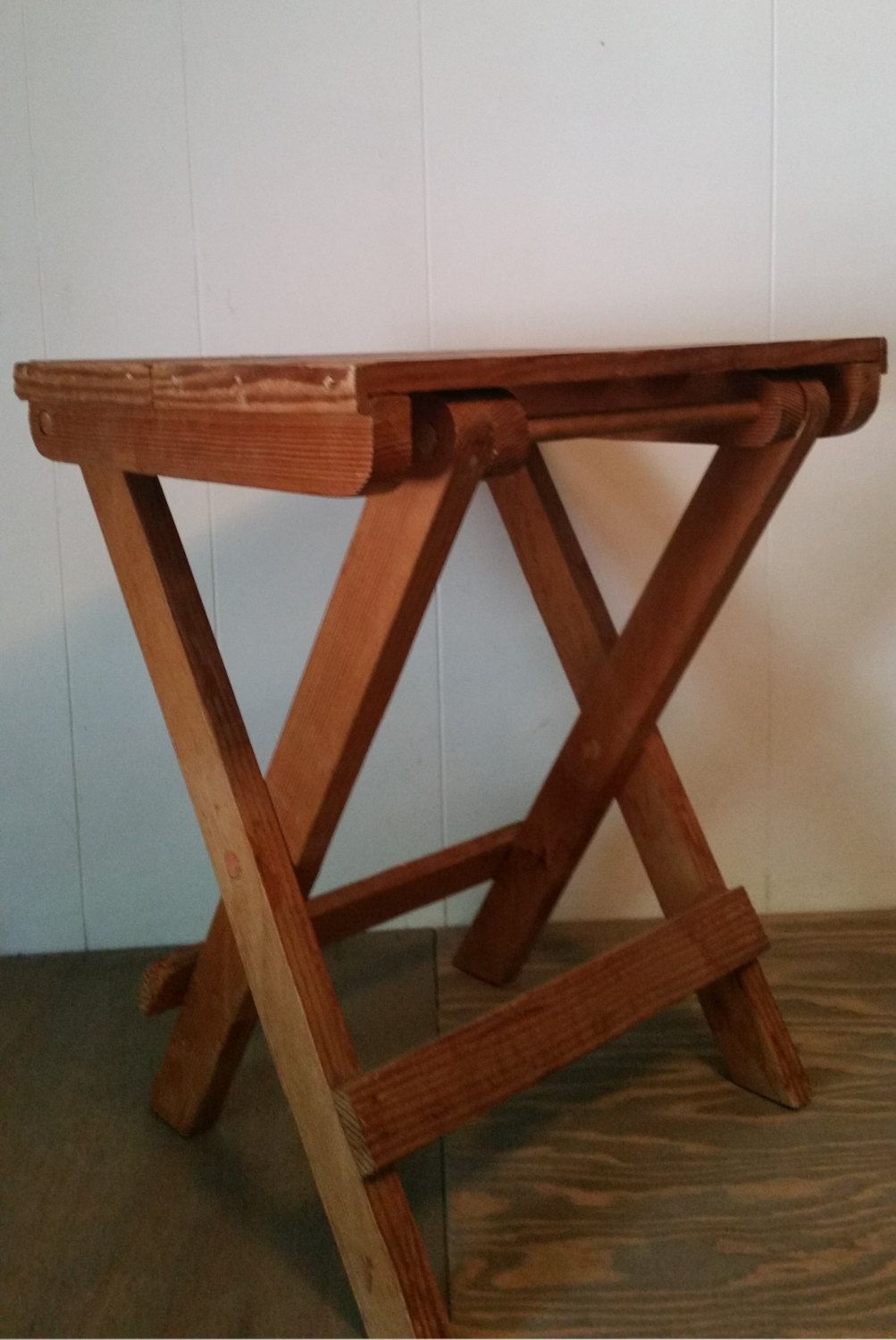 Vintage folding wood camp table wooden
