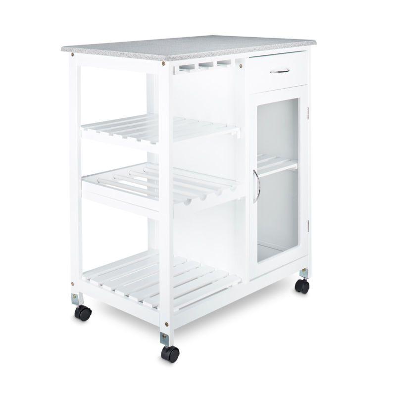 Küchenwagen aus Holz, Rollwagen, Servierwagen, Küchenschrank weiß ...