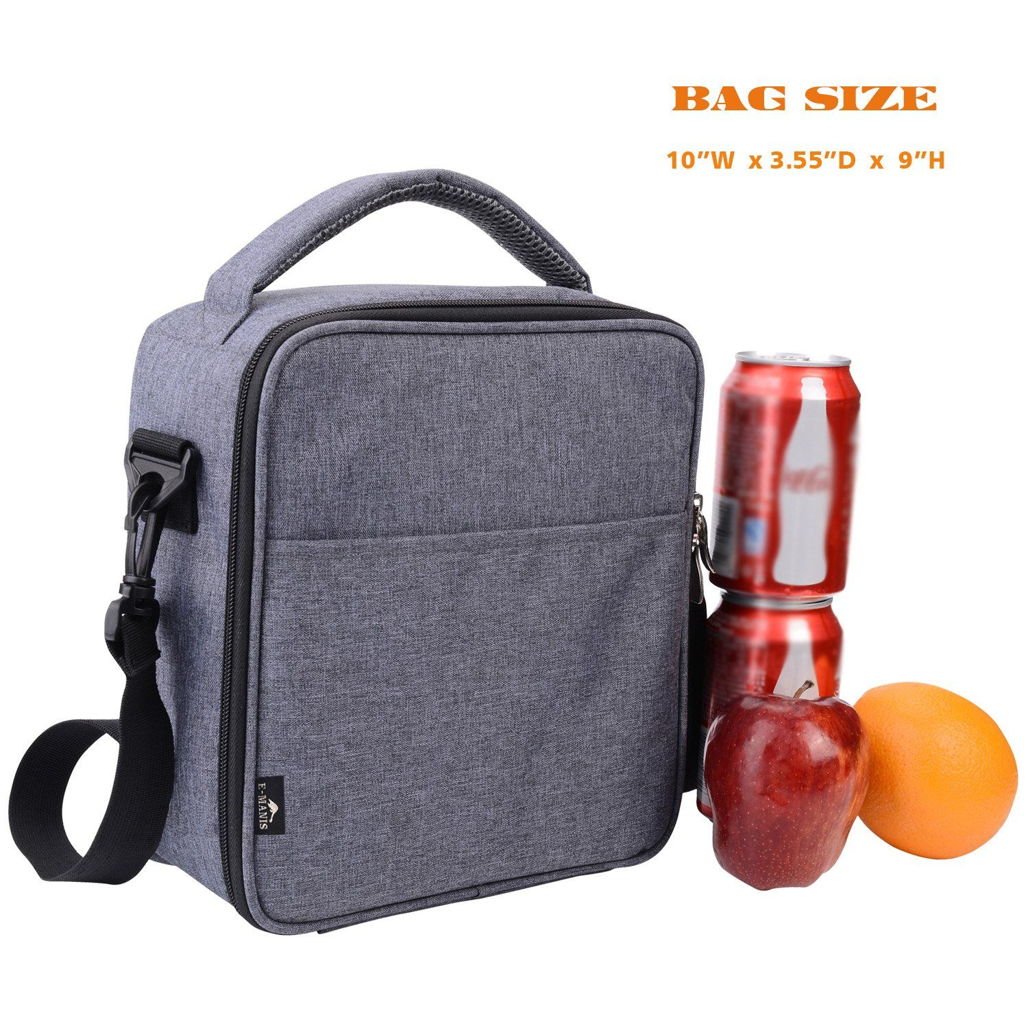 Emanis Insulated Lunch Bag Lunch Box Cooler Bag with Shoulder Strap for Men  Women Kids gray     You can find more details by visiting the image link. 1856bcc6eb413