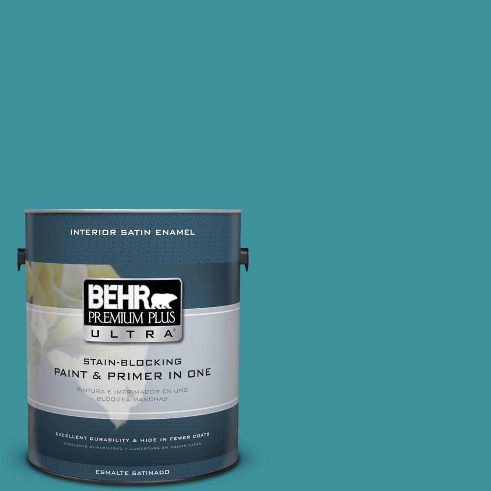 BEHR Premium Plus Ultra 1 Gal. #520D 6 Lagoon Satin Enamel Interior