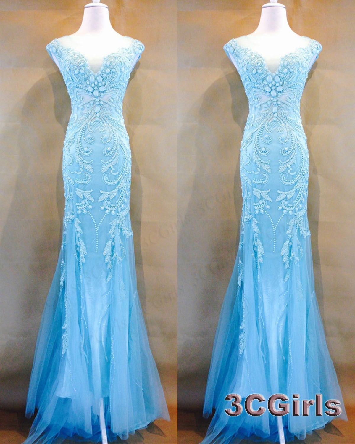 Unqiue teal prom dresses long vneck ball gown stunning ice