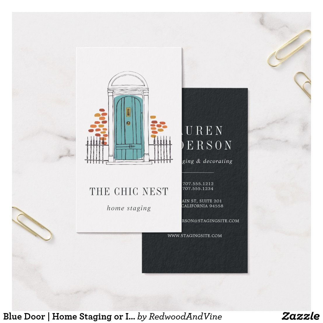 Blue Door Home Staging Or Interior Design Business Card Zazzle