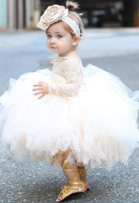 0af6813d50 Ball Gown Bateau Long Sleeves Short Tulle Cute Flower Girl Dress with Lace