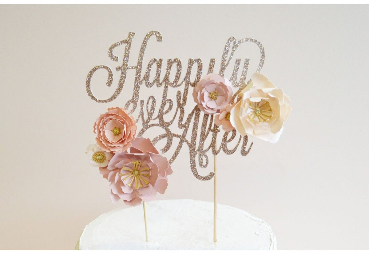 Handmade wedding decorations paper  Buy Happily Ever After metallic flower wedding cake topper  Happily