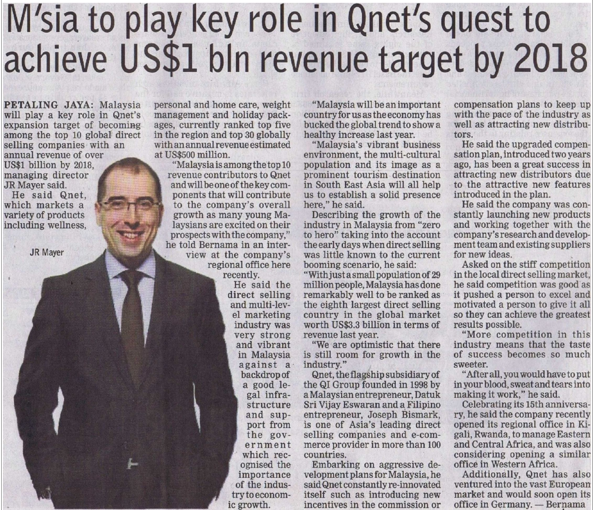 IN THE NEWS: #Malaysia to play key role in #QNET's quest to achieve