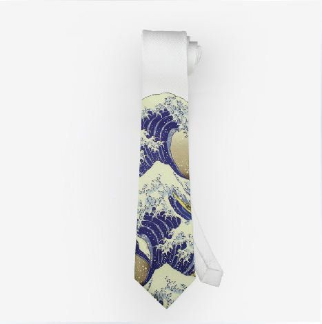 4 colors to choose FineArt Collection oil painting printed Japanese The great wave/blue sea/simple cirve/before the storm theme tie · PurpleFishBowl · Online Store Powered by Storenvy