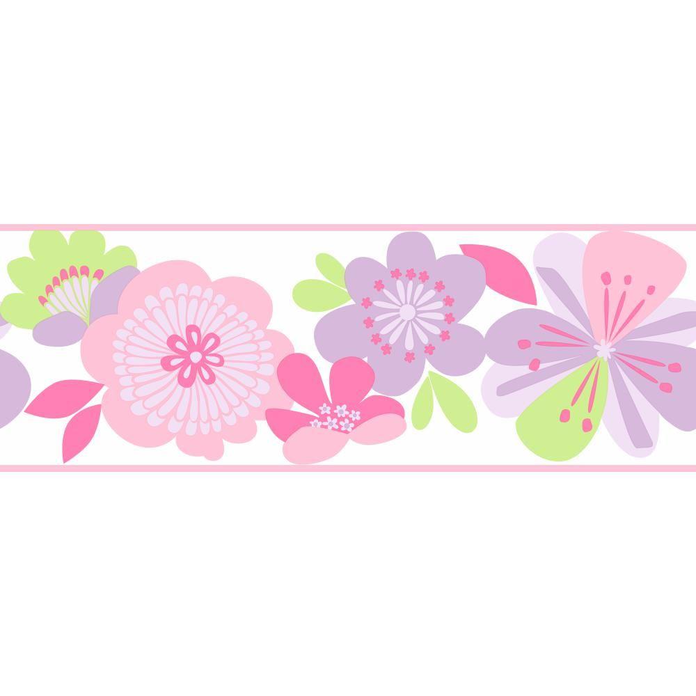 Large Floral Fun Wallpaper Border Ks2225b Floral Wallpaper