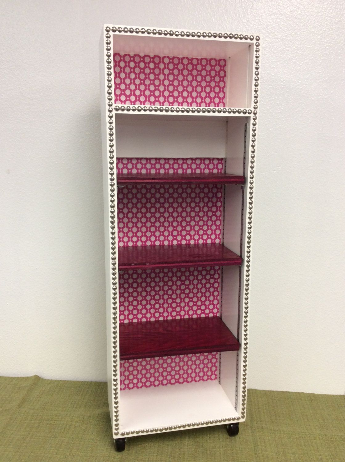 Hot Pink White Bookshelf With Nailheads Local Pick Up By Sassafrassity On Etsy