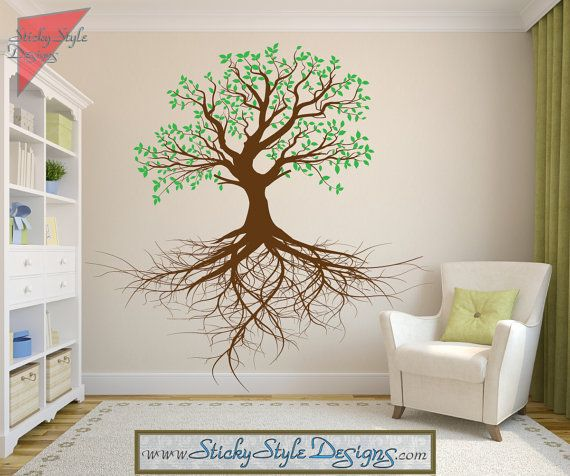 Tree Of Life With Roots Wall Decal   Free Shipping! Removable Vinyl Art,  Custom