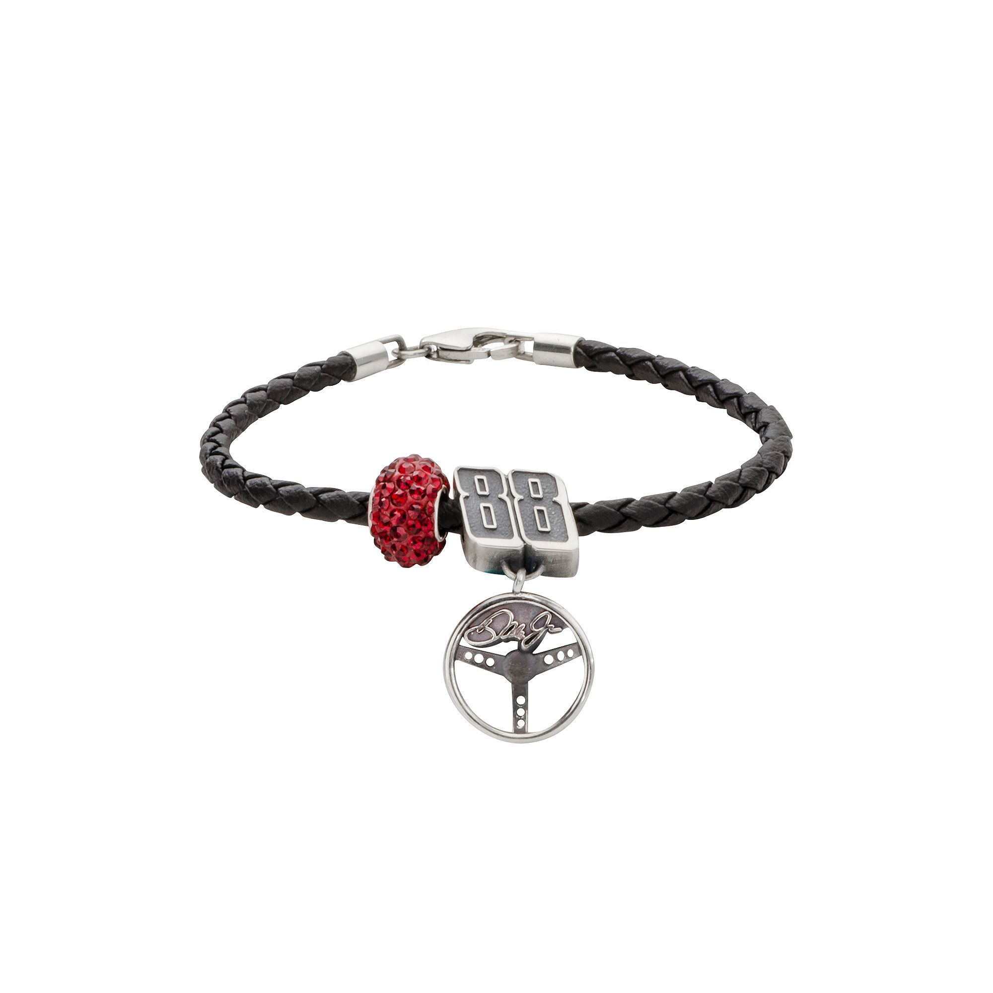 "Insignia Collection Nascar Dale Earnhardt Jr. Leather Bracelet and Sterling Silver Crystal 88 Steering Wheel Charm and Bead Set, Women's, Size: 7.5"", Red"