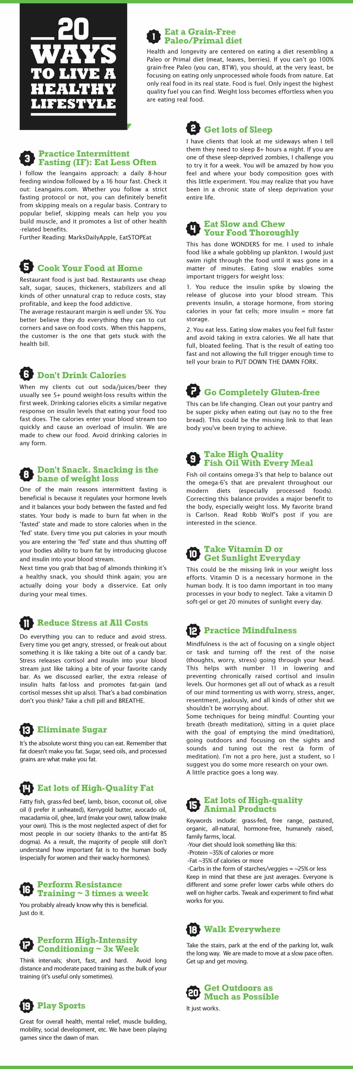 Free Poster Download: 20 Ways To Live A Healthy Lifestyle By AGYMLIFE.com