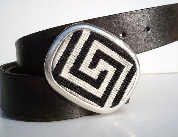 Men/'s Greek Key Metal Buckle Handcrafted Needlepoint Genuine Leather Jean Belt