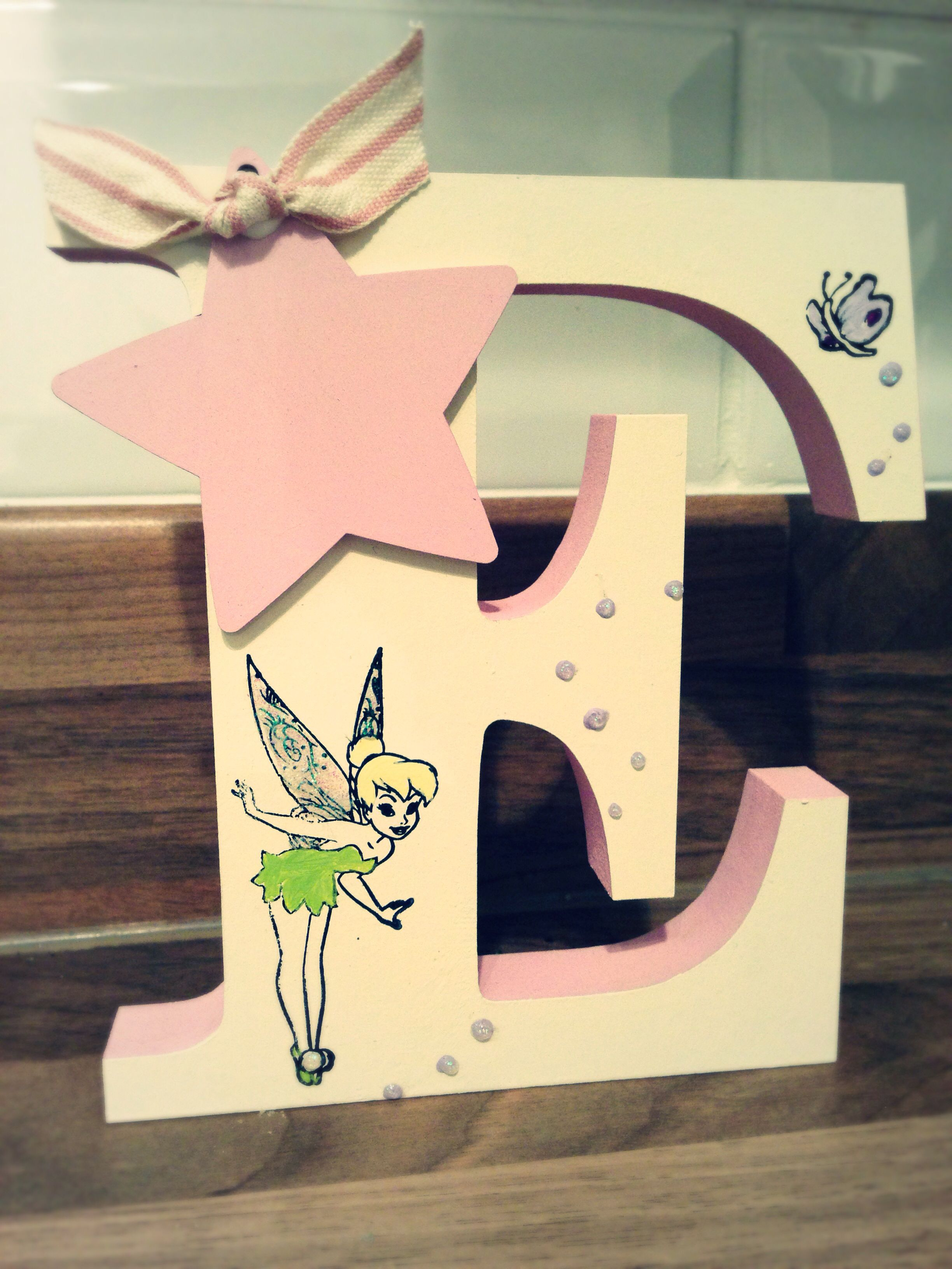 tinkerbell free standing wooden letters ready to be personalised also available in minnie mouse