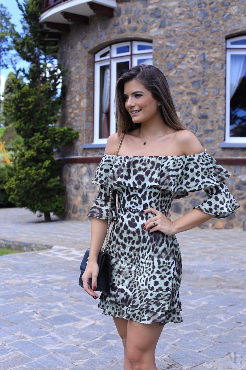 Vestido com print de onça a13d1f679a0
