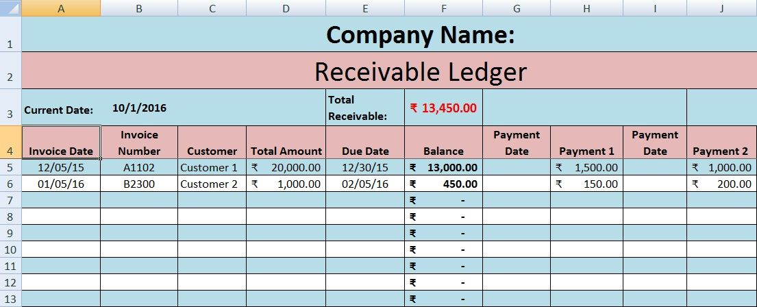 Download Accounts Receivable Ledger Excel Template Excel Data - payment slip format free download