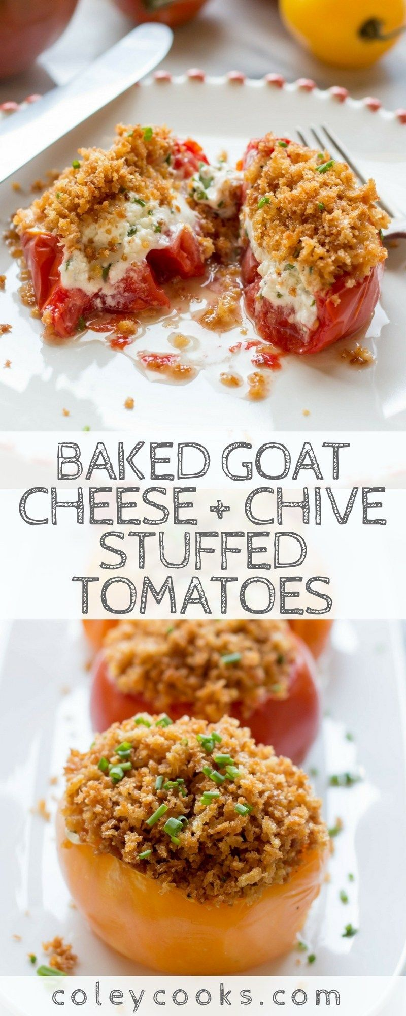 Goat Cheese + Chive Stuffed Tomatoes #summerdinnerseasy