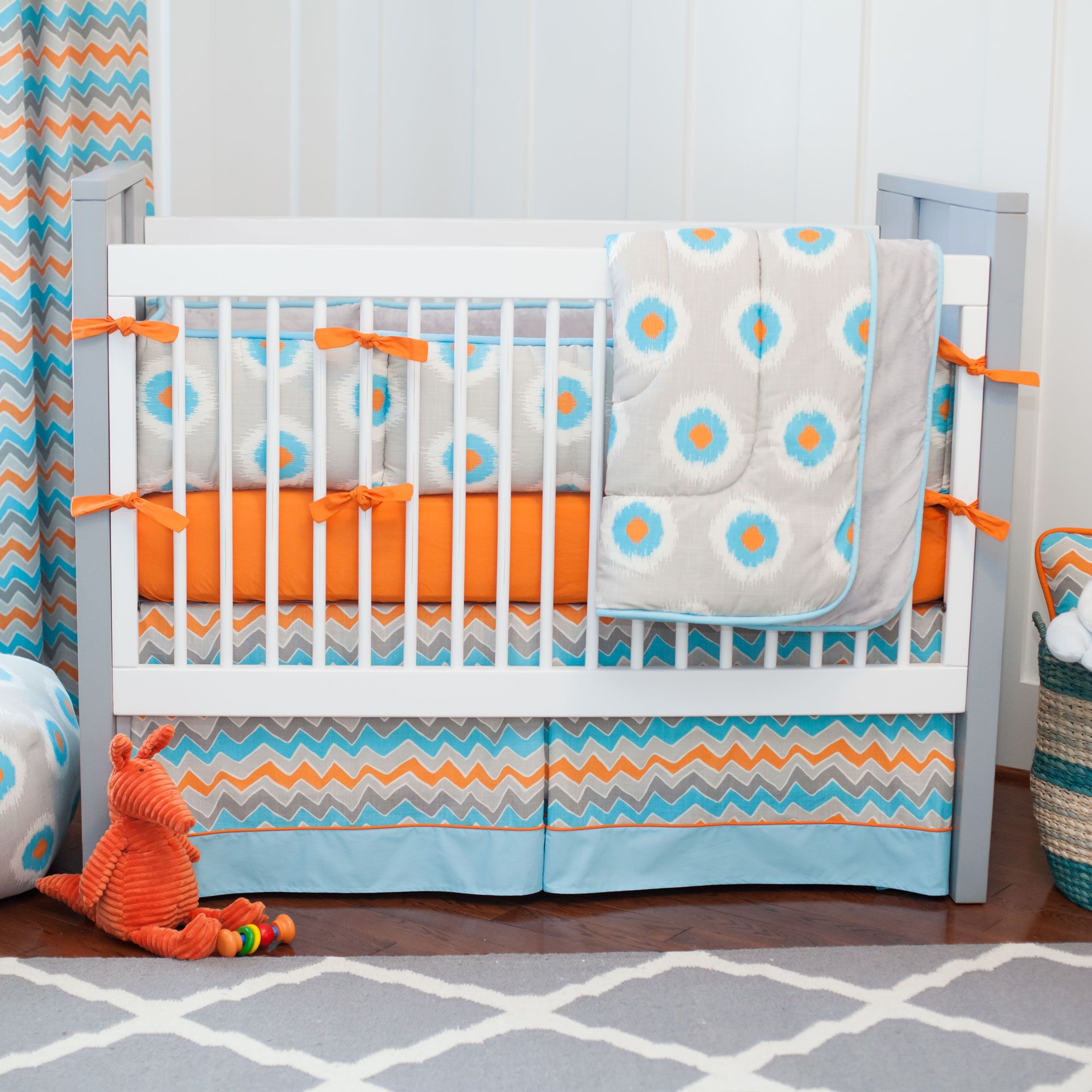 Chic Gray And Orange Ikat Bedding Dotted Baby Crib Set With Blue