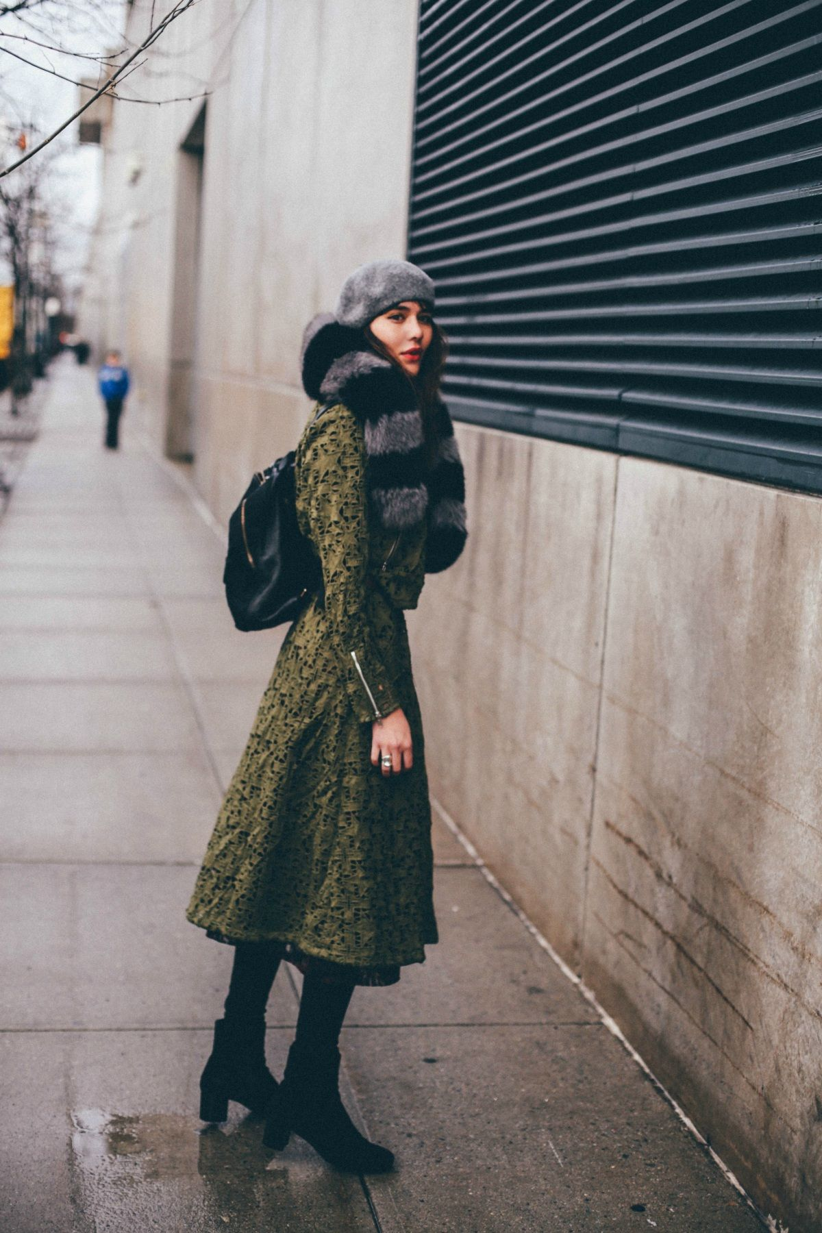 // Asilio trench coat, Charlotte Simone scarf, La Canadienne boots, Kenneth Cole backpack, vintage beret, Ax + Apple ring //
