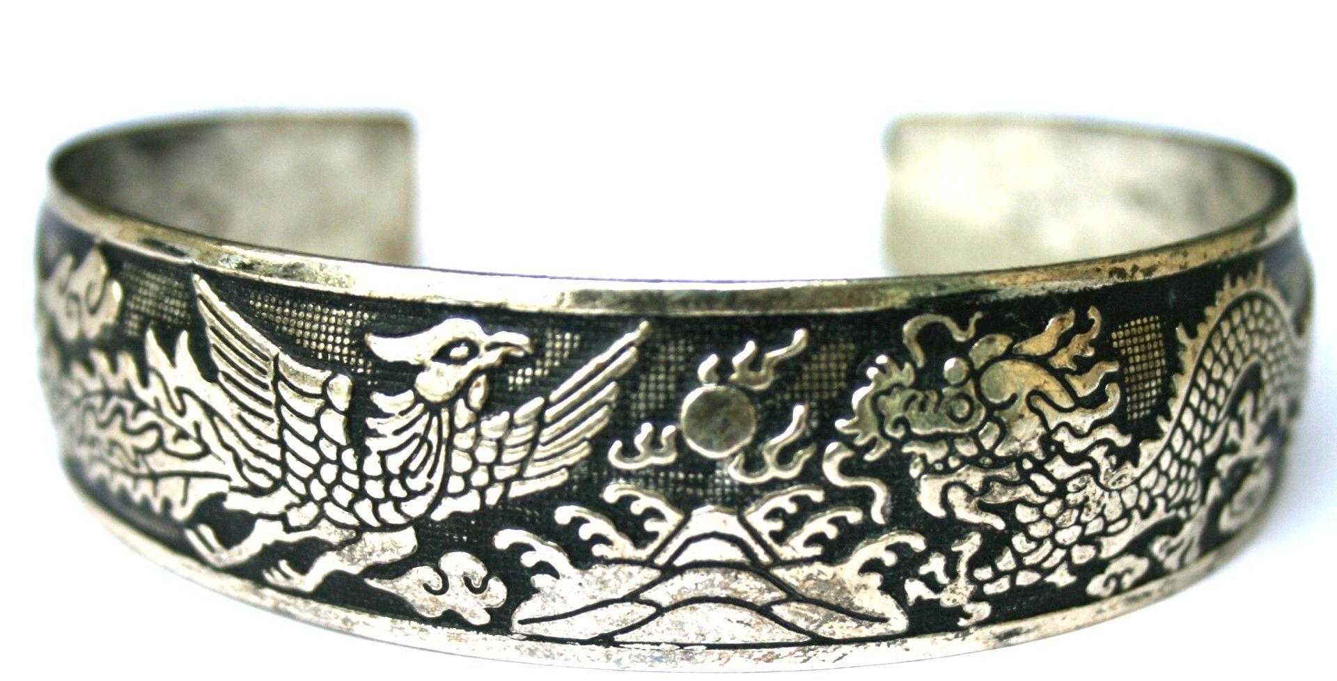 Fashion Dragon And Phoenix Etched Sterling Silver Cuff Bracelet EM-B3