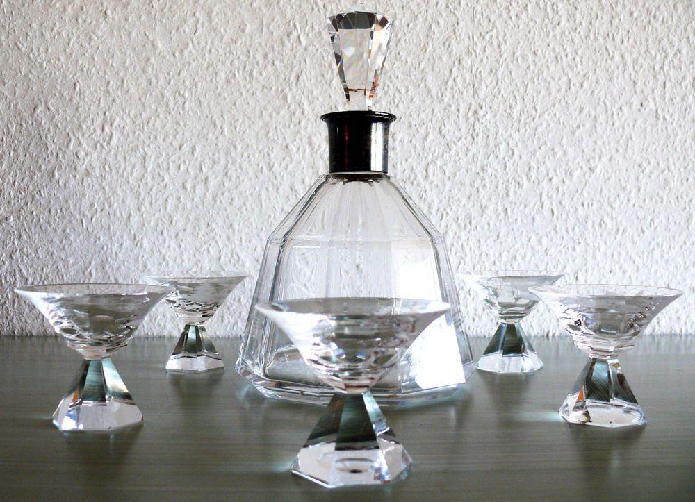 Art Deco WILDTIERE Likör Set 30er Gläser Karaffe Liqueur Gravuren Jagd Silber