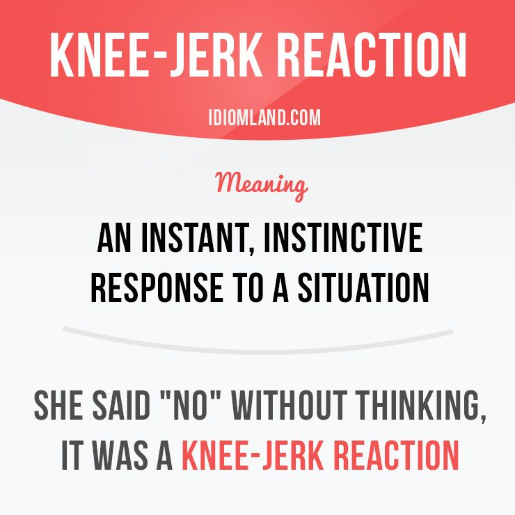 Image result for images of a knee jerk reaction