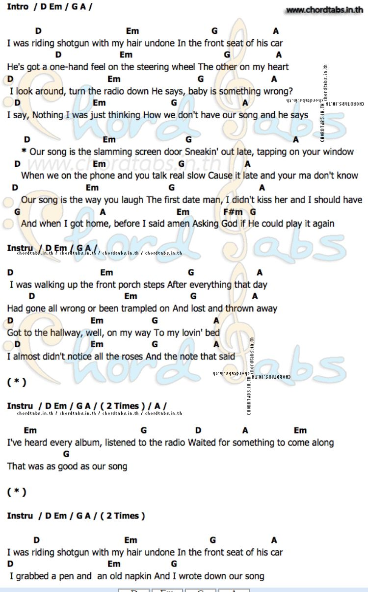 Our Song Taylor Swift Guitar Chord Pinterest Guitar Chords
