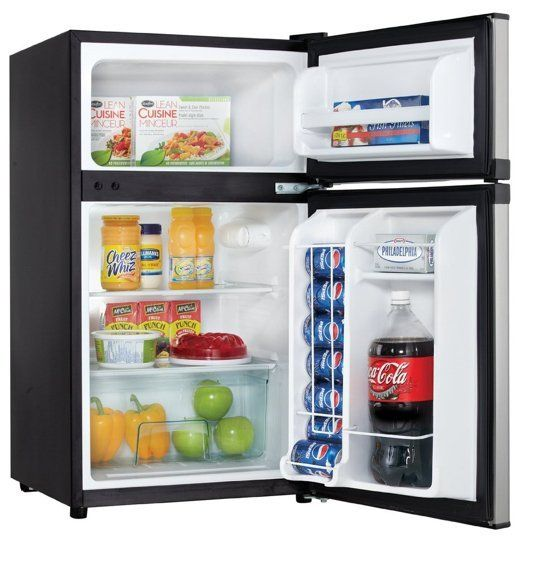 Stainless Steel Danby 3.0 cu.ft. 2 Door Compact Refrigerator: Small enough to keep under a desk.