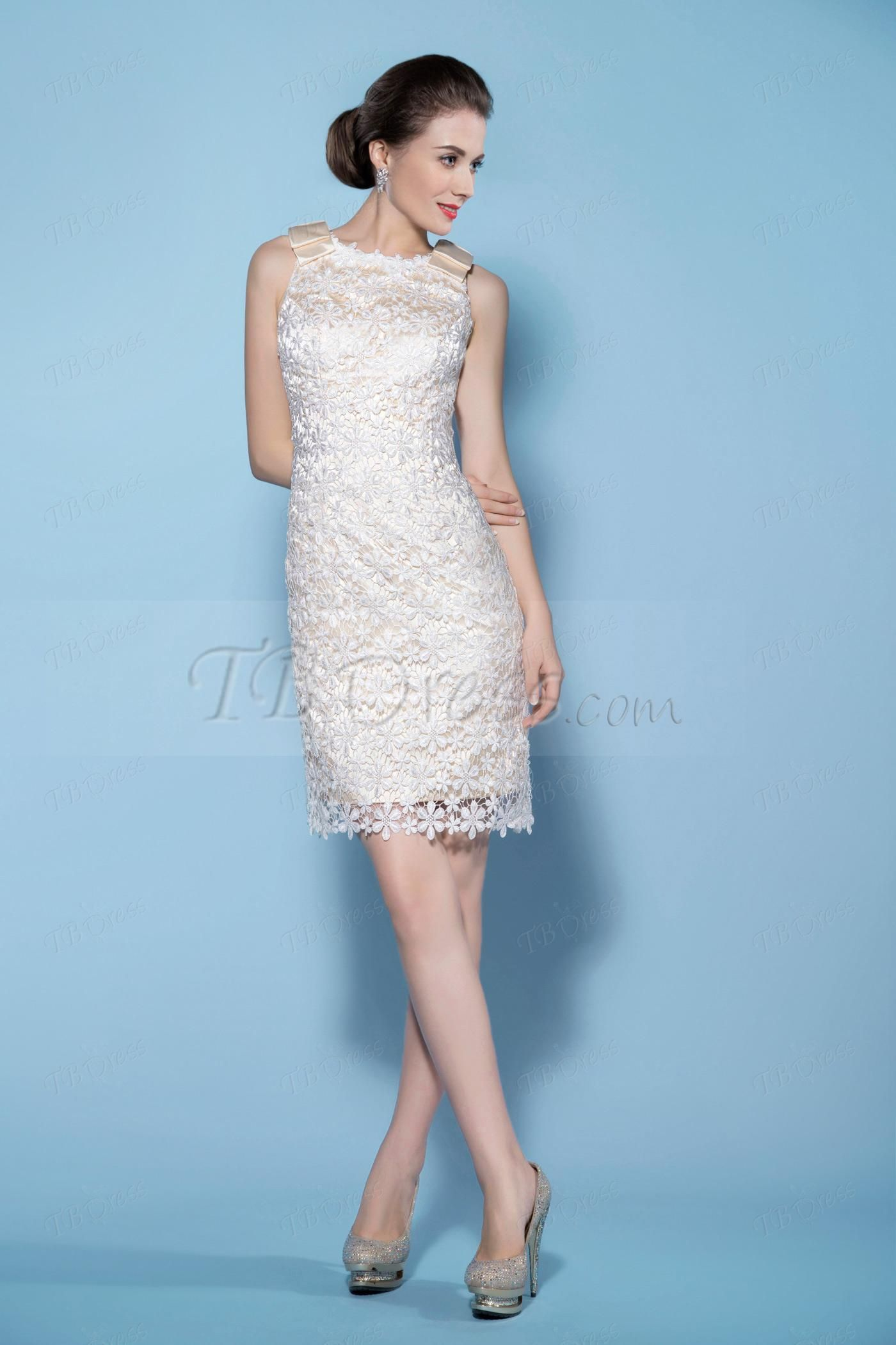 Sheath/Column Mini-Length Lace Short Wedding Dress | Lace wedding ...