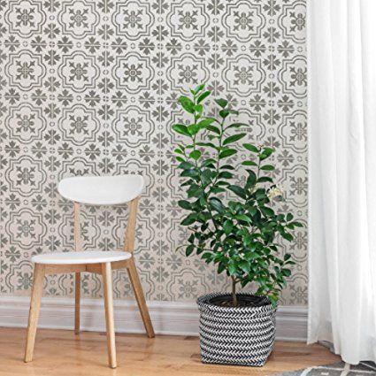 marbella carrelage meubles sol mur de carrelage pochoir m diterran en espagnol taille m amazon. Black Bedroom Furniture Sets. Home Design Ideas