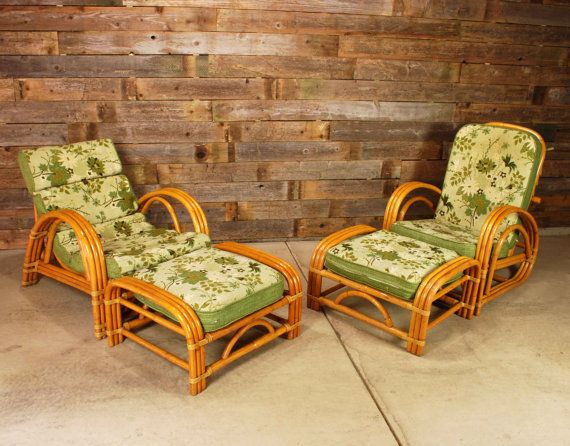 Vintage Bent Rattan Chair Set 1950 S Tiki Bamboo 4 Piece Set Lounger Recliner Beach Style Furniture Rattan Chair Cane Furniture