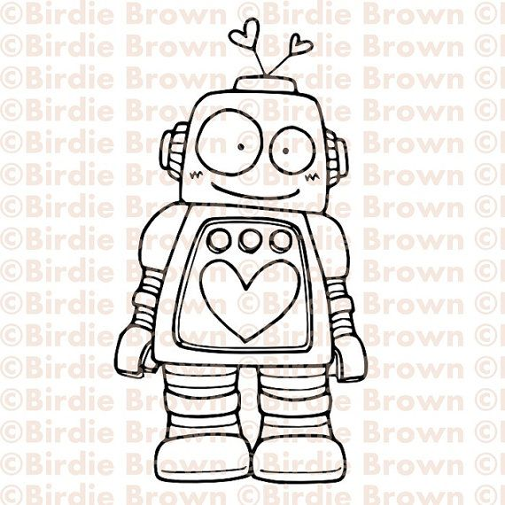 I Love Quirky Characters This Robot Is Cute Digital Stamp