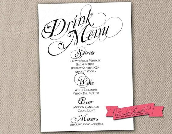 Printable Drink Menu Card, Diy Wedding Reception Drinks Cocktails