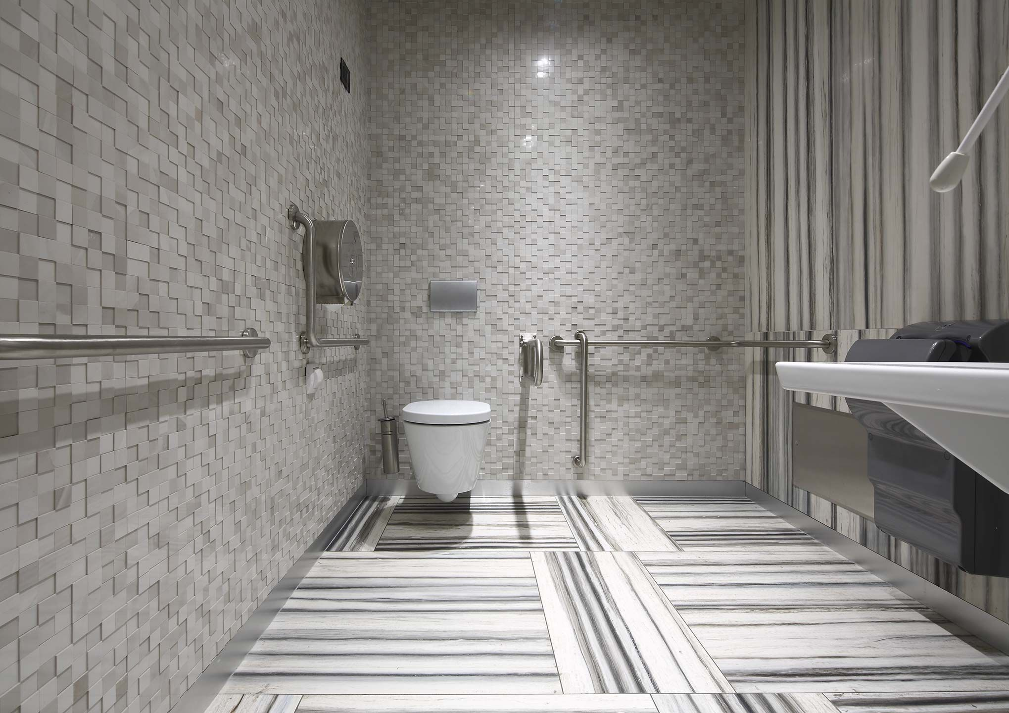 Bathroom Floor And Mosaic Decorations With Ceramic Tiles Restroom