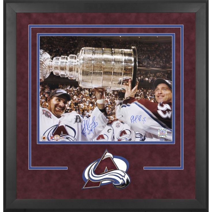 """Ray Bourque, Patrick Roy Colorado Avalanche Fanatics Authentic Deluxe Framed Autographed 16"""" x 20"""" Raising Cup Photograph - $449.99"""
