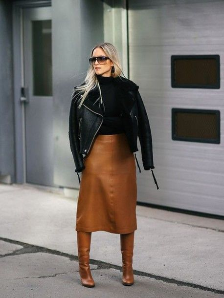 Skirt: tumblr midi leather brown boots brown boots high heels boots top black boots black leather