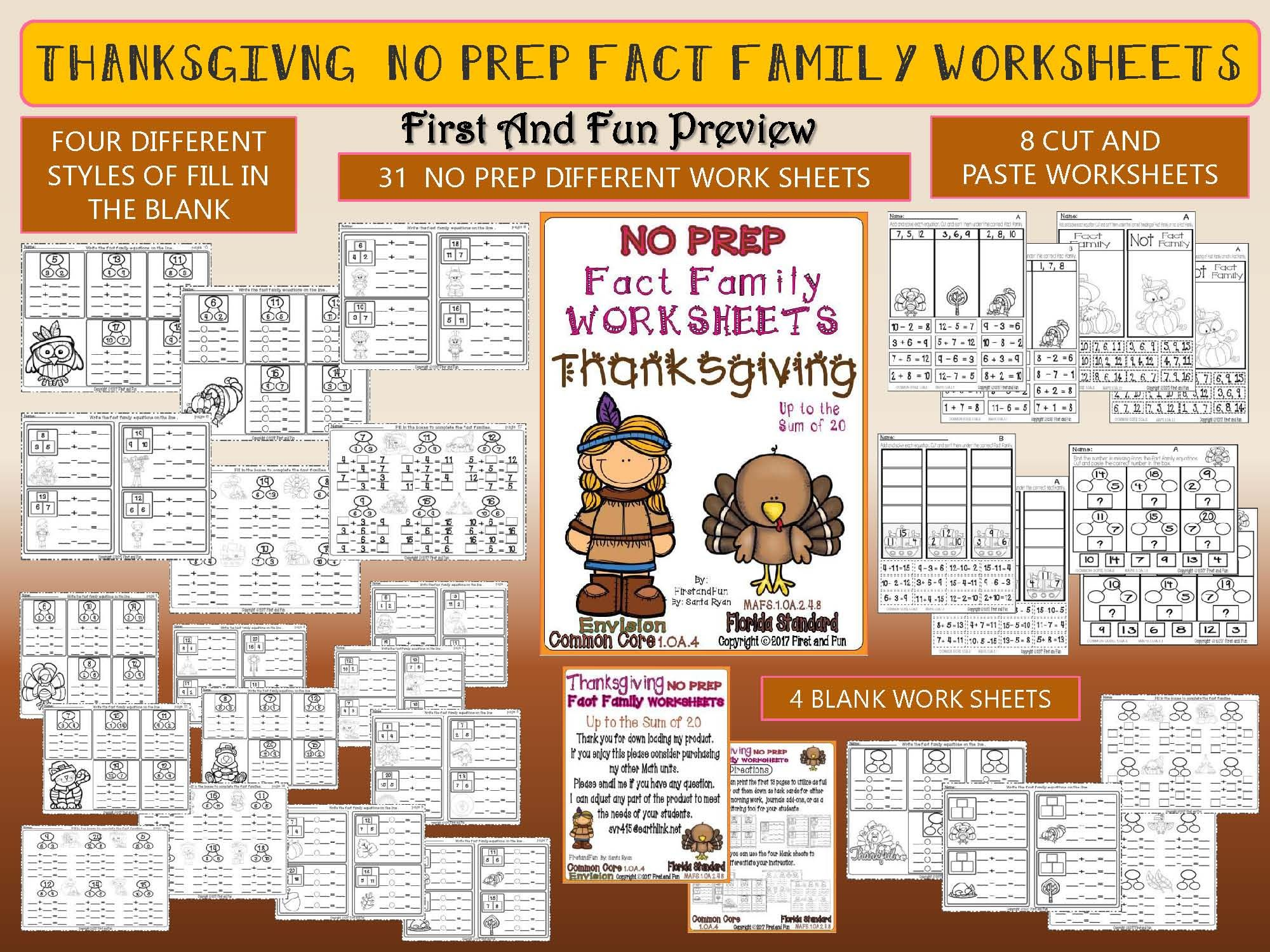 Thanksgiving No Prep Fact Family Number Bond Worksheet