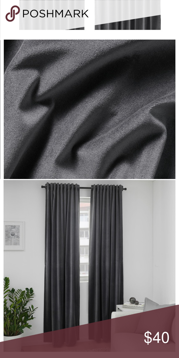 Ikea Sanela Dark Grey Velvet Curtains 55x98 Nwot In 2020 Grey