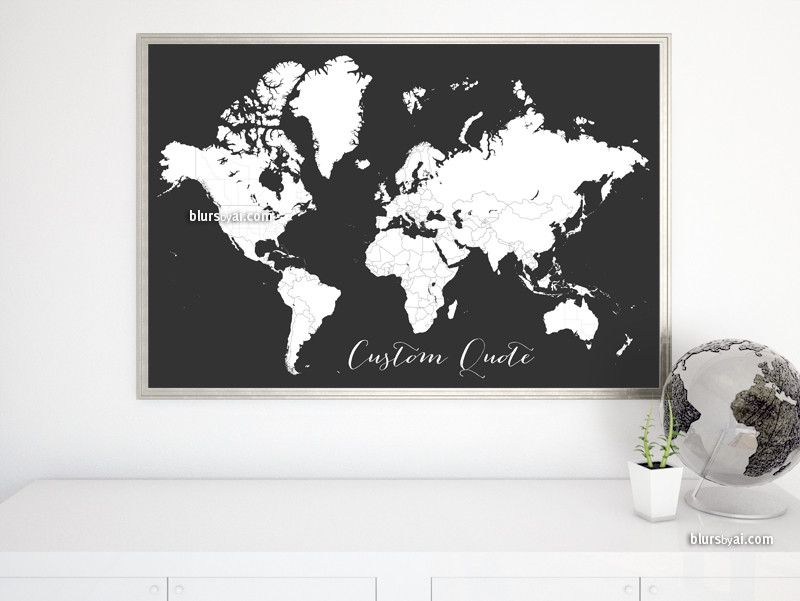 Custom quote printable world map with countries and states custom quote printable world map with countries and states outlined for coloring in dark grey gumiabroncs Image collections