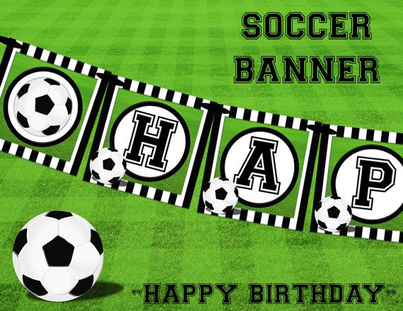 Happy Birthday Banner Soccer Party Diy By Readytoprintdesigns 10 00 Soccer Birthday Banner Happy Birthday Banners Soccer Banner