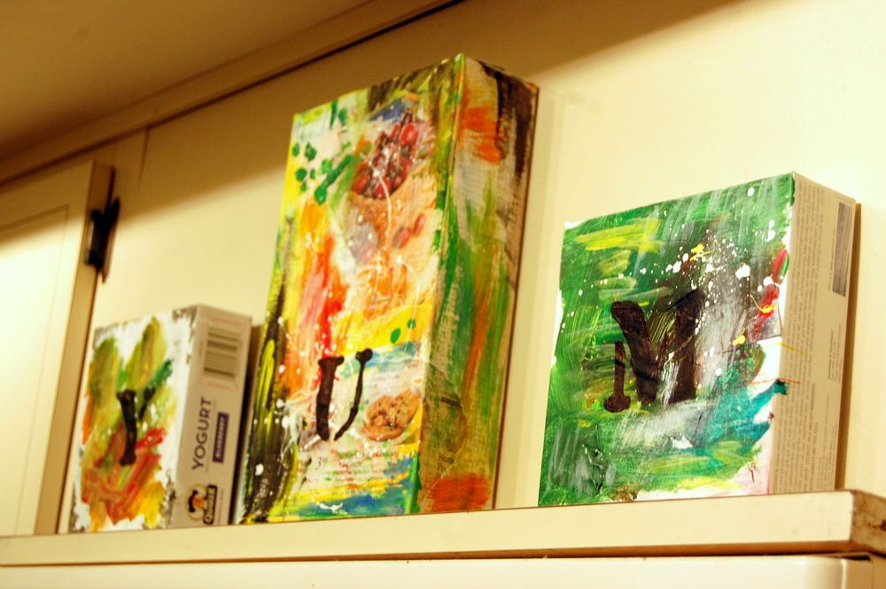 DIY Recycled Cardboard Kitchen Art Using Cereal And Granola Boxes, Paint  And Grocery Stores Ads