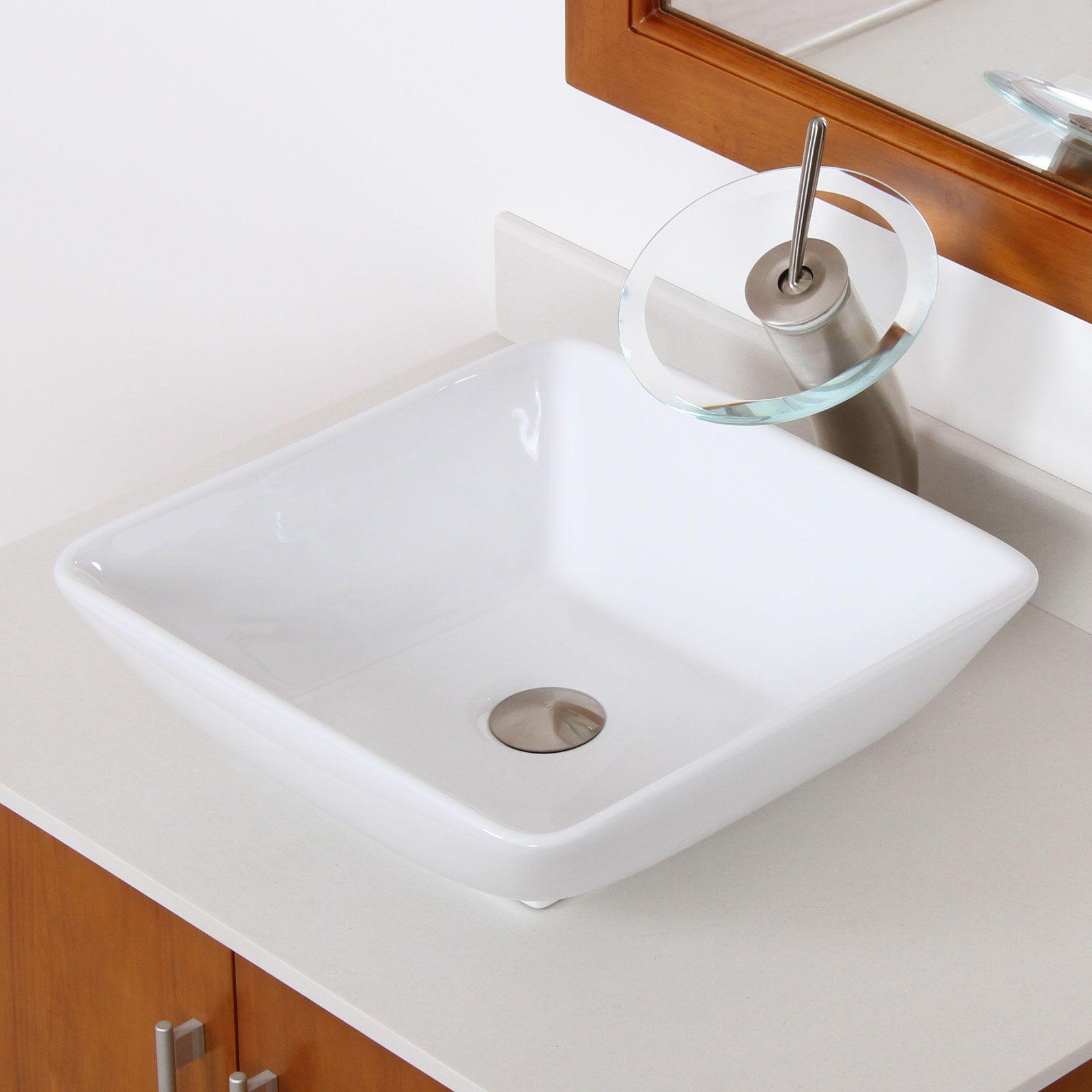 Elite High-temperature Ceramic Square Bathroom Sink / Brushed Nickel ...