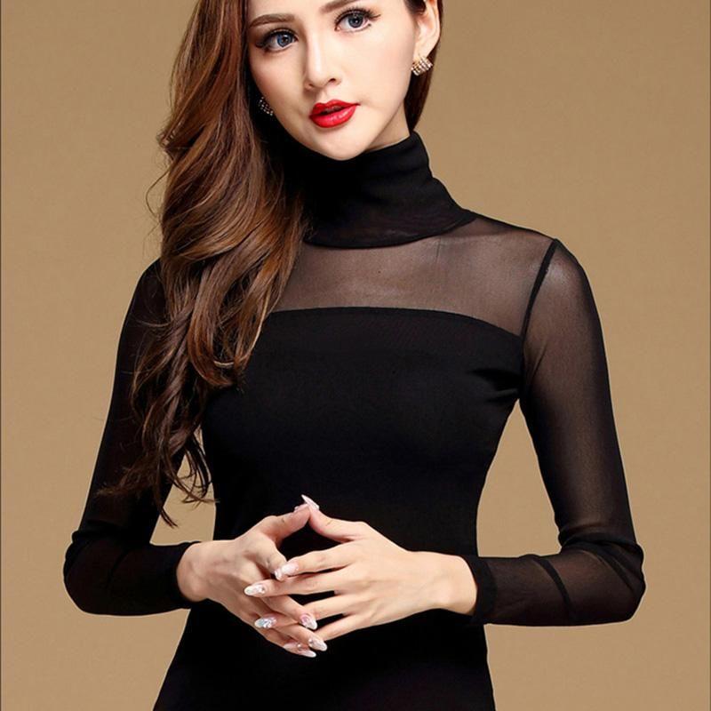 Womens Long Top Long Sleeve T shirt Lace Polo Neck Blouse Black White