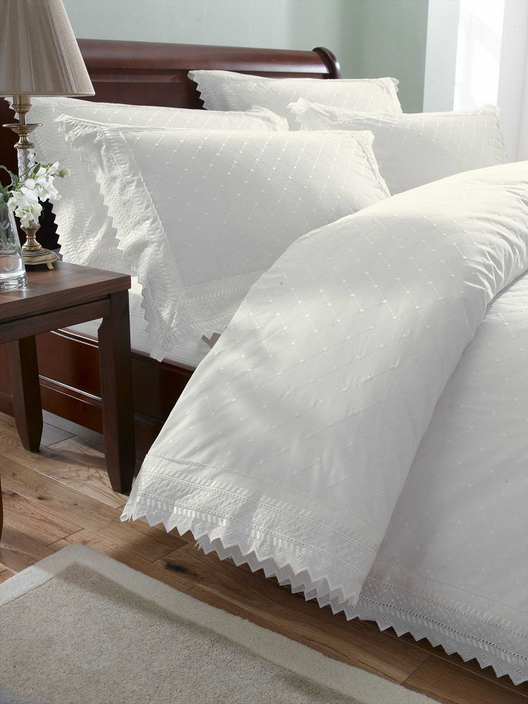 Cream White Embroidered Duvet Cover Bed Sets Luxury