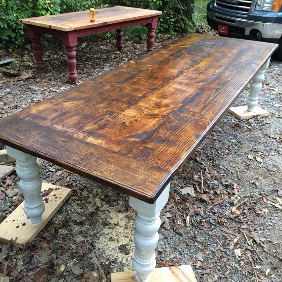 10 foot rustic farmhouse table by wellsworksfurniture on for Long rustic table