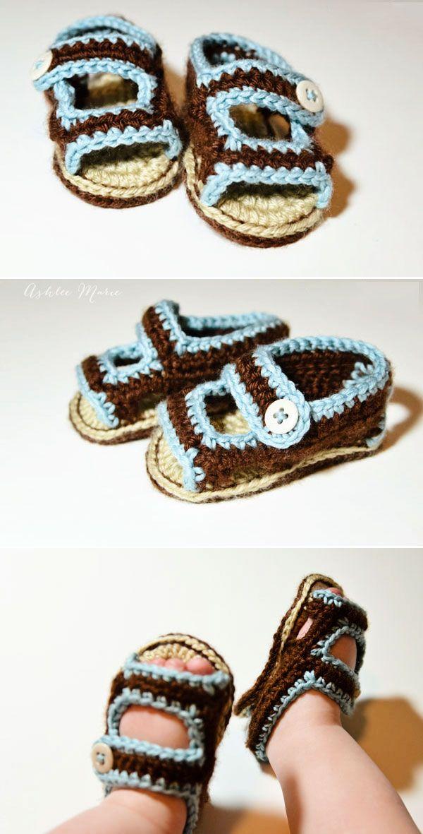 terminados sandalias del bebé crochet son lindos, diversión y suave ...