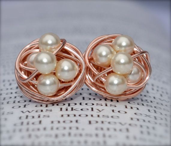 aa8aa5161 V*Dazzled Cream pearl - Rose Gold Series- Cream Swarovski glass pearl beads  and Rose gold Wire Wrapped Stud Earrings studs