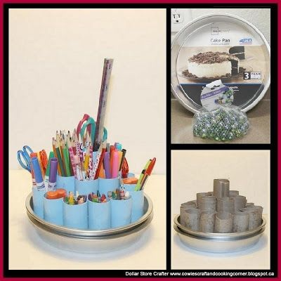 Turn Dollar Store Cake Pans And Marbles Into A Lazy Susan Craft Supply Orga Dollar Store Diy Organization Dollar Tree Diy Organization Dollar Tree Organization